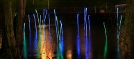 Fiber Optic Reeds emerge from the water. Slowly the colors shift from green to dark blue. Every so often a single reed turns orange-red...then returns to green or blue...and the pattern continues in other single reeds. The colors and forms link the plaza artwork to the pond site.