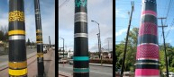 The BANGLES are being applied to aprox 15 special poles adjacent to the stations in the MLK Valley. Each station has its own signature color. This project was done in collaboration with Norie Sato