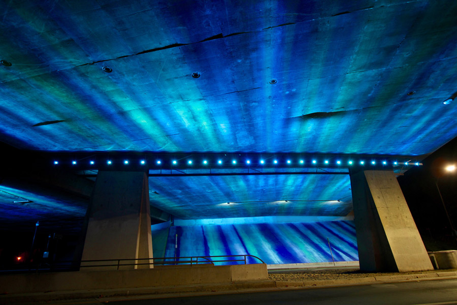 In addition to the live weather feed transforming the space, this project is also highly interactive for those players of the Ingress multi-player game. By interacting physically on site with your cell phone, players can transform the space, revealing aspects of the game for a brief amount of time.
